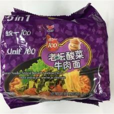 統一100老罈酸菜牛肉麵(袋)5包裝